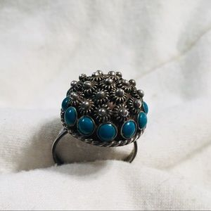 Silver &  turquoise ring.